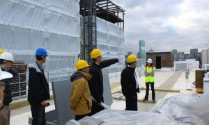 BuildingEnergy 13 attendees tour the roof of CSE's Building Technology Showcase.
